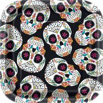 "Skull Day Of The Dead 7"" Dessert Plates (10)"